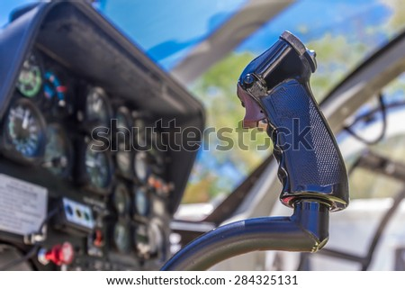 view of helicopter cabin - stock photo
