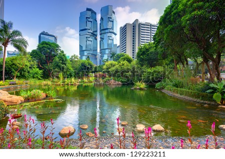 View of high rises from Hong Kong Park in Hong Kong, China - stock photo