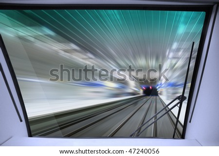 view of high-speed way for train from cabin of machinist - stock photo