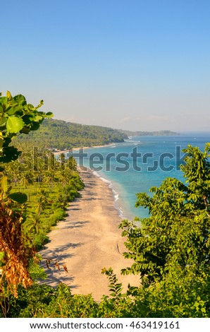 View of hilly Lombok Island, Indonesia