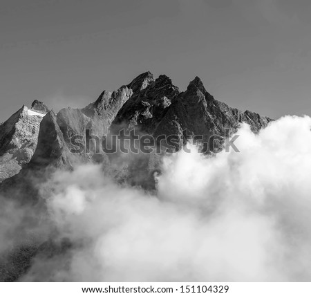 View of himalayan peaks in mist from Thame - Nepal (black and white) - stock photo