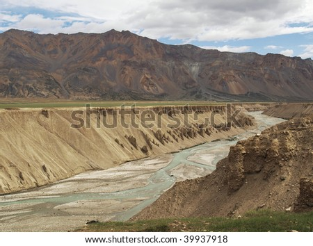View of Himalayas and river canyon on Keylong - Leh road in Ladakh, India