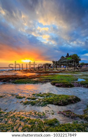 View of Hindu temple at a beach in Bali, Indonesia. This temple is one of the most popular destination in Bali.