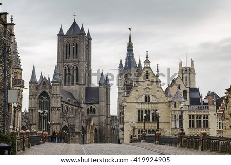 view of historic center of Ghent from bridge, Belgium - stock photo