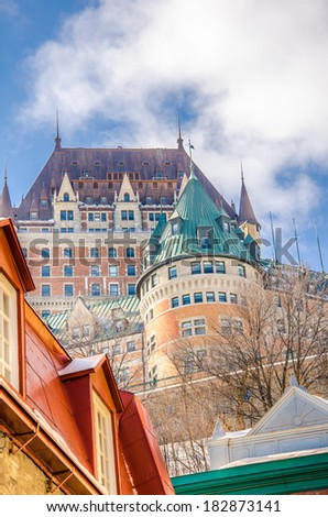 View of Historic Chateau Frontenac in Quebec City from Lower Old Town - stock photo