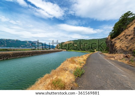 View of historic Highway 14 in the Columbia River Gorge on the Washington side