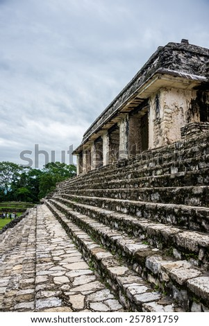 View of Historic Mayan Site. Traveling Through Chiapas, Mexico. - stock photo