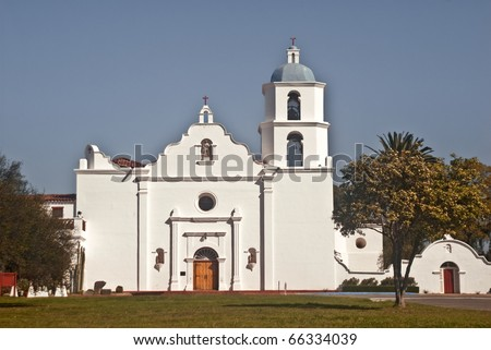 View of historic Mission San Luis Rey - one of the historic Spanish missions in California - stock photo