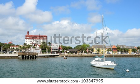 View of historic St. Augustine, Florida  riverfront on the Matanzas River. - stock photo