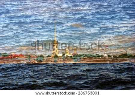 View of historical city center of Saint-Petersburg, Russia, in summer. Peter and Paul's fortress. Popular touristic landmark. UNESCO World Heritage Site. The Neva river embankment. Textured photo. - stock photo