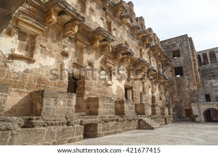 View of historical old ancient city of Aspendos in Antalya.