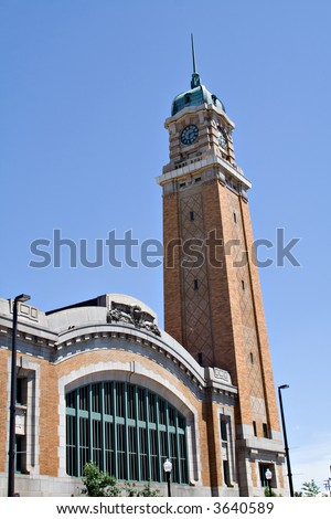 View of historical West Side Market in Cleveland OH house many food vendors. - stock photo