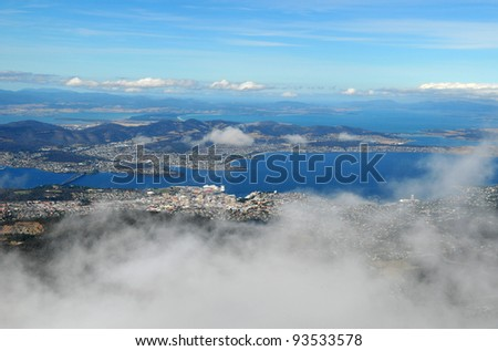 View of Hobart from a mount Wellington - stock photo