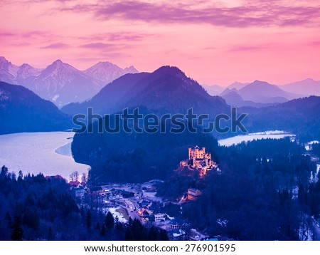 View of Hohenschwangau Castle at night in the Bavarian Alps of Germany - stock photo