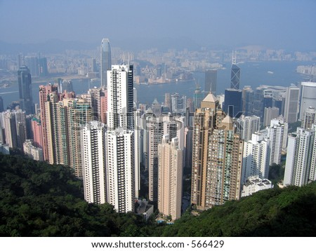 View of Hong Kong from a hill - stock photo