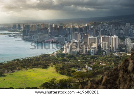 View of Honolulu Downtown from Diamond Head Hawaii