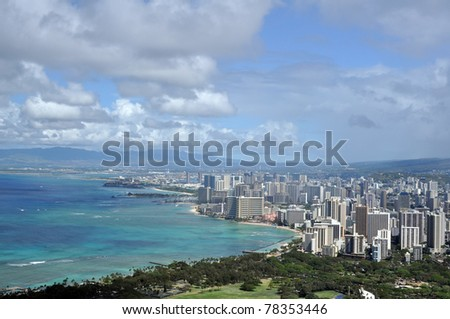view of Honolulu from Diamond Head, Hawaii - stock photo