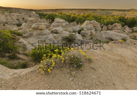 View of hoodoos in Writing on Stone Provincial park in Alberta, Canada