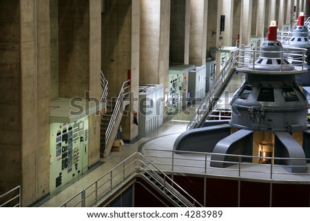 View of Hoover Dam Generators and control panels.