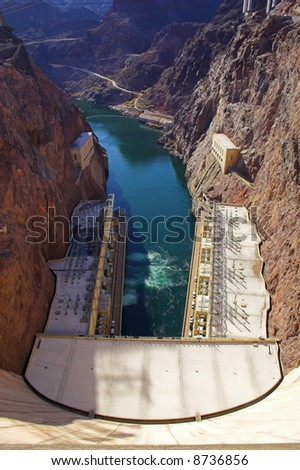 View of Hoover, formely Boulder, Dam on the border Nevada and Arizona - stock photo