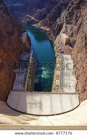 View of Hoover, formely Boulder, Dam on the borderof  Nevada and Arizona - stock photo