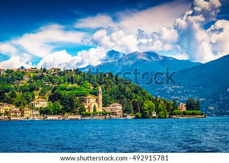 View of houses and hotels on the coast of Como lake, Italy.