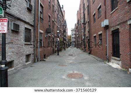 View of houses in the city center in Boston - stock photo