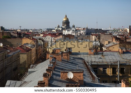 View of houses in the city center in Saint Petersburg