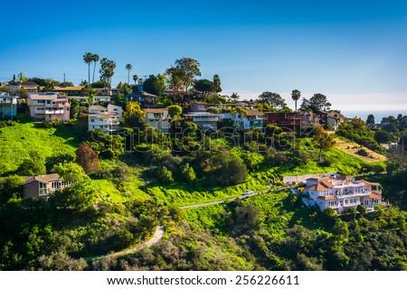 View of houses of a hillside in Laguna Beach, California. - stock photo