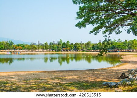 View of Huay Tueng Tao lake in Chiangmai province, Thailand.
