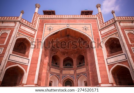 View of Humayuns Tomb in New Delhi - stock photo