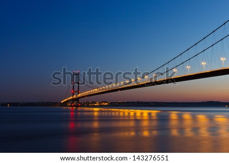 View of Humber Bridge at sunset - stock photo