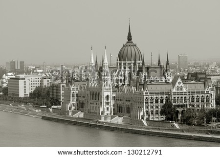 View of Hungarian parliament building with Danube river - stock photo