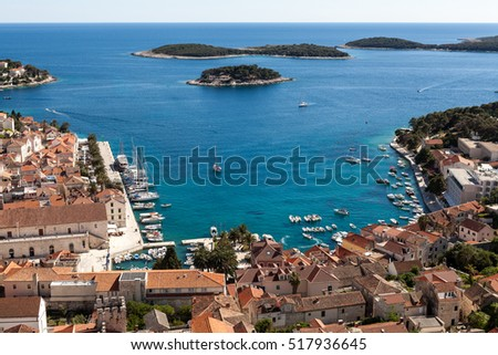 View of Hvar port in the summer, Croatia