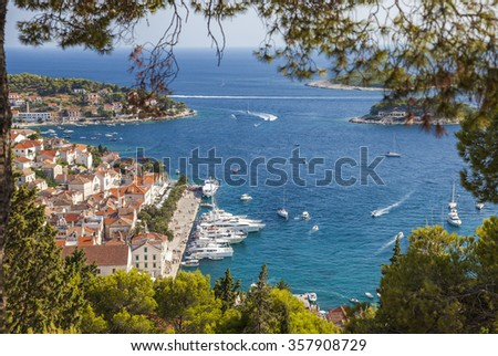 View of Hvar Town, Hvar Island, Croatia - stock photo