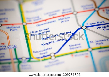 View of Hyde Park Corner station on a London subway map. - stock photo