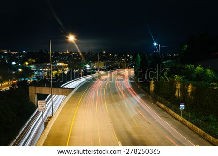 View of I-90 at night, from the Jose Rizal Bridge, in Seattle, Washington.