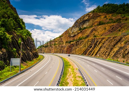 View of I-68 from a pedestrian bridge at Sideling Hill, Maryland. - stock photo