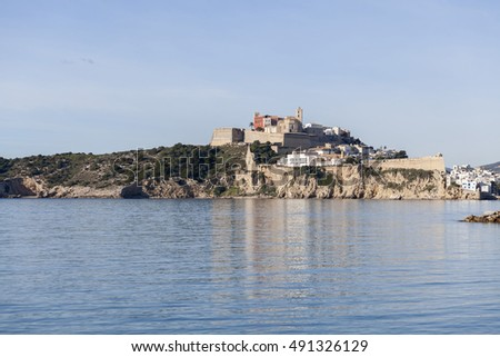 View of Ibiza, walls, port and historic center Dalt Vila. Ibiza-Eivissa, Balearic Islands, Spain.