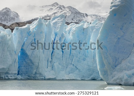 View of iceberg in lake, Grey Glacier, Grey Lake, Torres del Paine National Park, Patagonia, Chile - stock photo