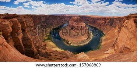 View of iconic Horseshoe Bend on the Colorado River in northern Arizona. - stock photo