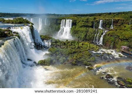 View of Iguassu falls from Brazillian side, Brazil - stock photo