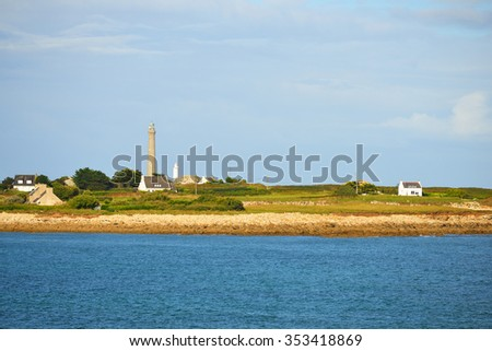 View of Ile Vierge lighthouse and the sea coast in Brittany, France