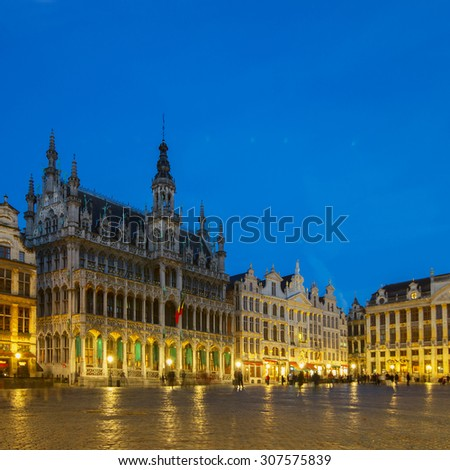 View of illuminated Grand Place  town square, Brusseles, Belgium
