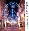 view of illuminated Merchants Street with christmas decoration in Valletta, Malta - stock photo