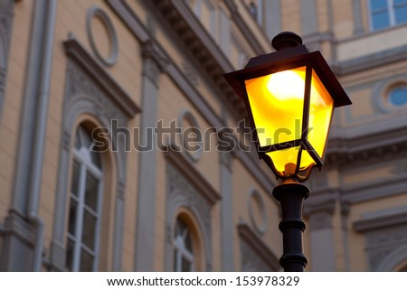 View of illuminated streetlamp in Trieste, Italy - stock photo