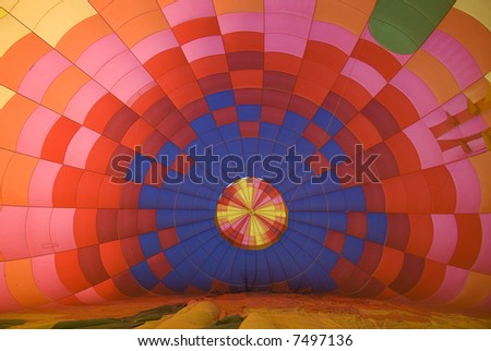 view of inside of balloon as it is being inflated. - stock photo