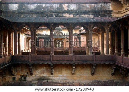View of Interior Gallery a palace in India - stock photo