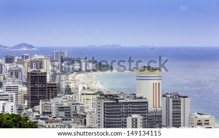 View of Ipanema Beach from the hill of Alto Leblon in Rio de Janeiro, Brazil - stock photo