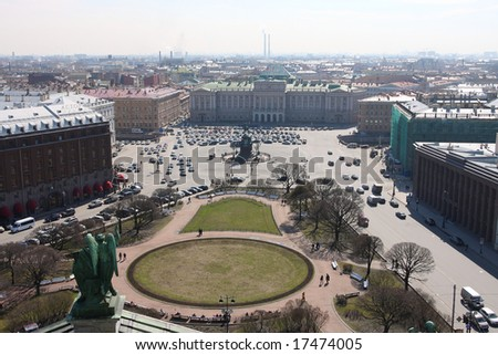 View of Isaac Square from Isaac cathedral (Russia, Saint-Petersburg). Monument to the imperator Nicholas I.